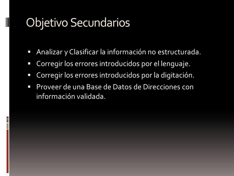 Objetivo Secundarios Analizar y Clasificar la información no estructurada. Corregir los errores introducidos por el lenguaje.