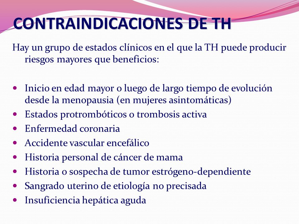 CONTRAINDICACIONES DE TH