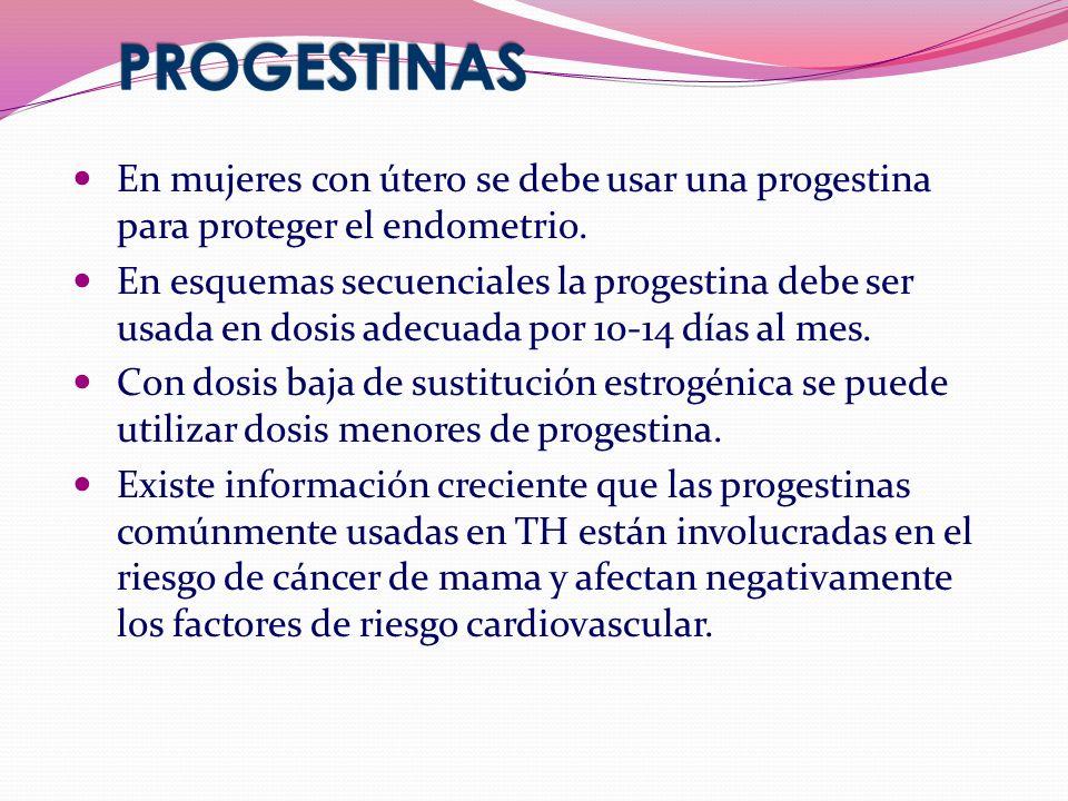 En mujeres con útero se debe usar una progestina para proteger el endometrio.