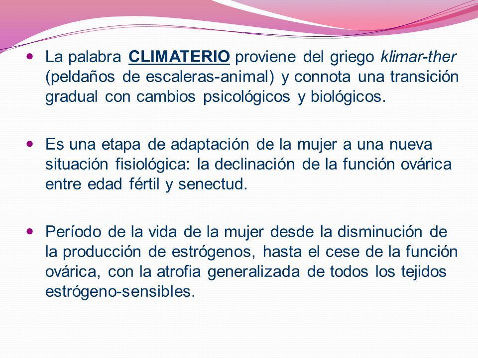 La palabra CLIMATERIO proviene del griego klimar-ther (peldaños de escaleras-animal) y connota una transición gradual con cambios psicológicos y biológicos.