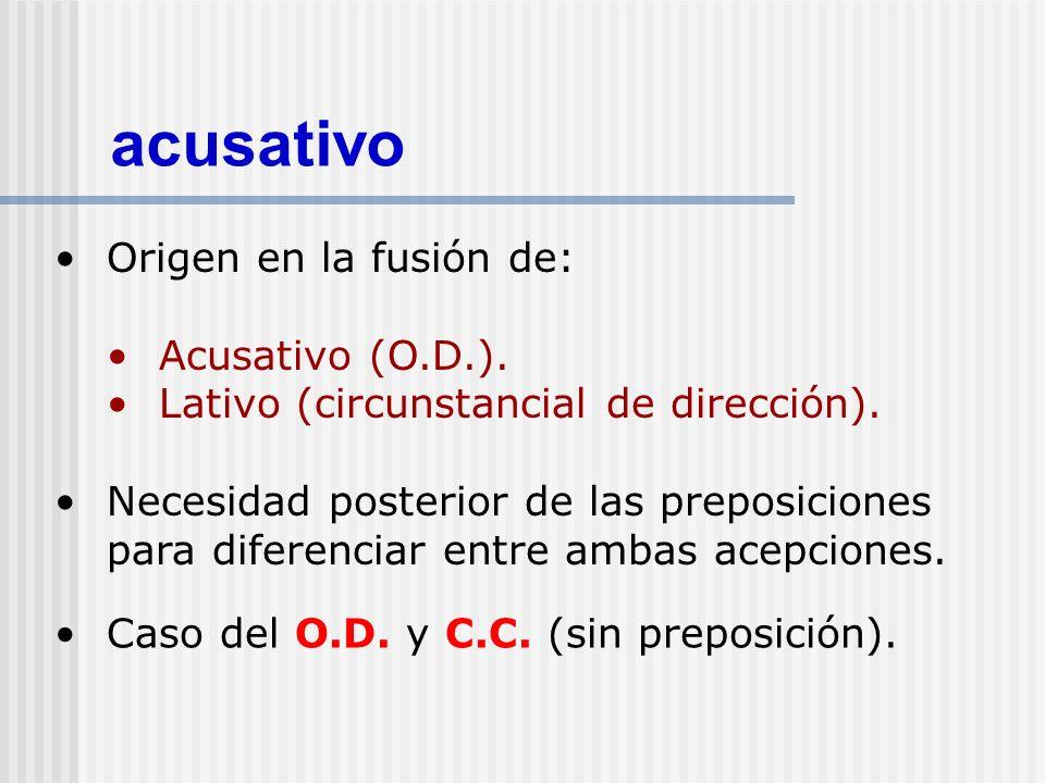 acusativo Origen en la fusión de: Acusativo (O.D.).