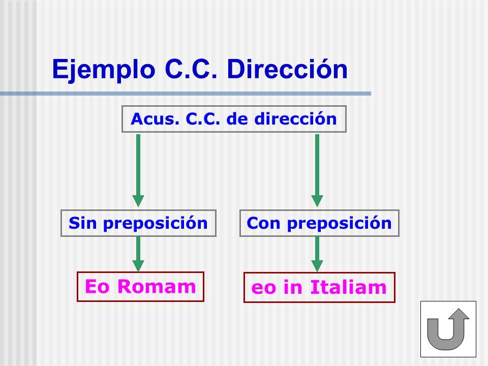Ejemplo C.C. Dirección Eo Romam eo in Italiam Acus. C.C. de dirección