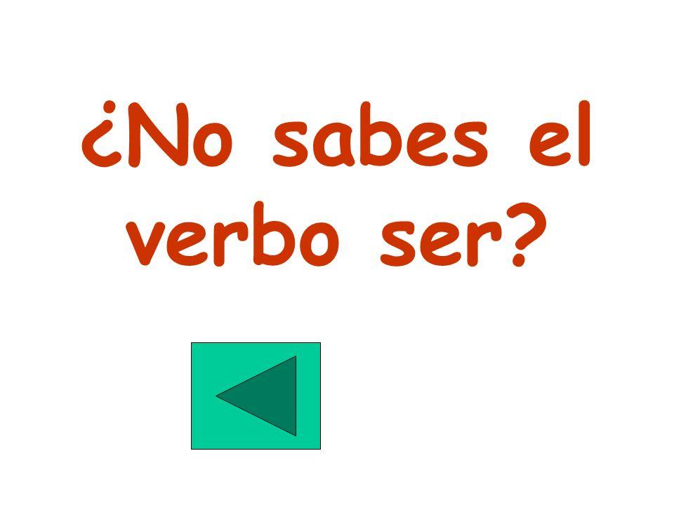 ¿No sabes el verbo ser