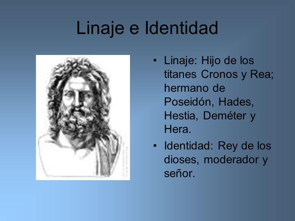 Linaje e Identidad Linaje: Hijo de los titanes Cronos y Rea; hermano de Poseidón, Hades, Hestia, Deméter y Hera.