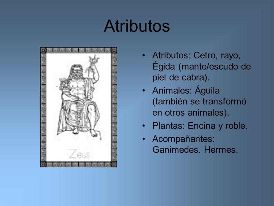 Atributos Atributos: Cetro, rayo, Égida (manto/escudo de piel de cabra). Animales: Águila (también se transformó en otros animales).