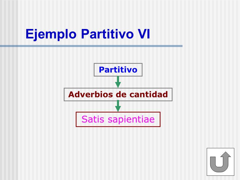 Ejemplo Partitivo VI Partitivo Adverbios de cantidad Satis sapientiae