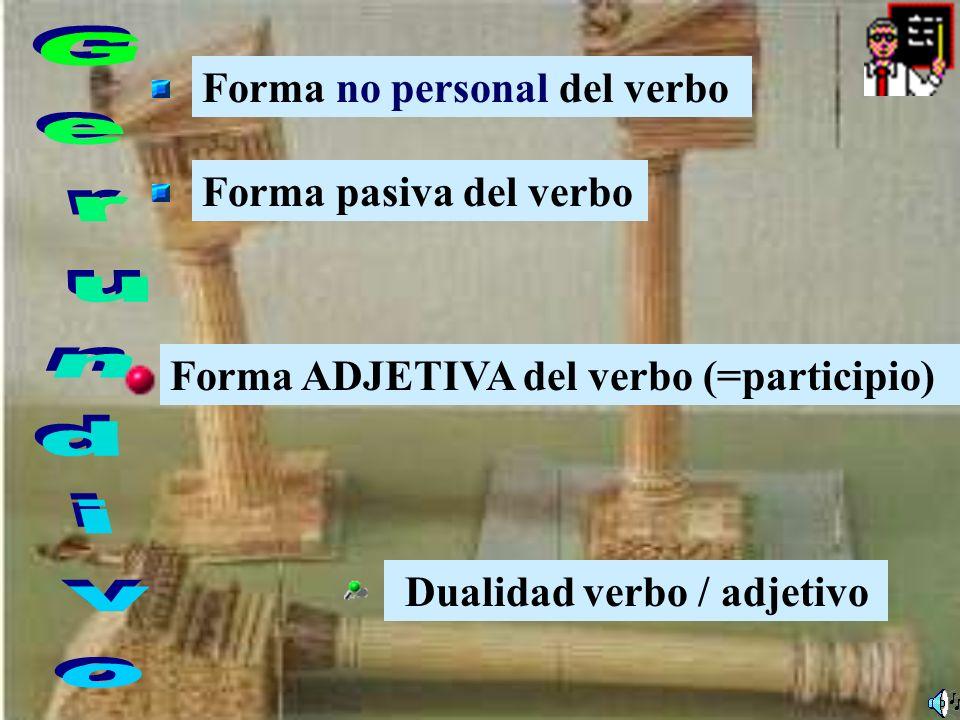 Gerundivo Forma no personal del verbo Forma pasiva del verbo