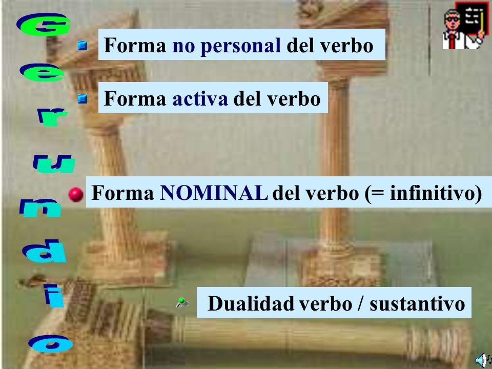 Gerundio Forma no personal del verbo Forma activa del verbo