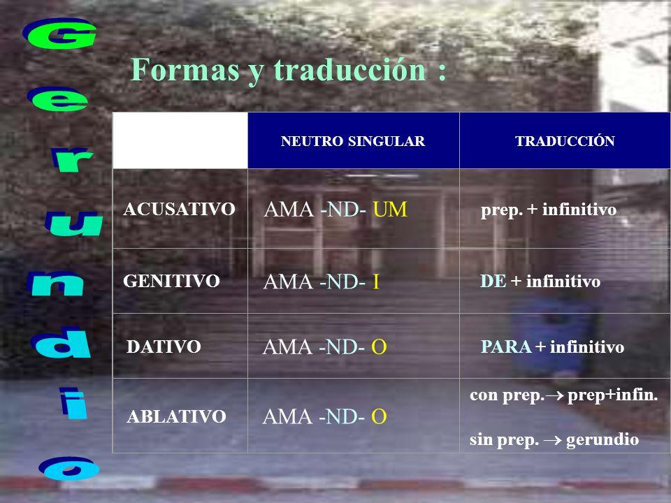 Formas y traducción : Gerundio AMA -ND- I ACUSATIVO AMA -ND- UM