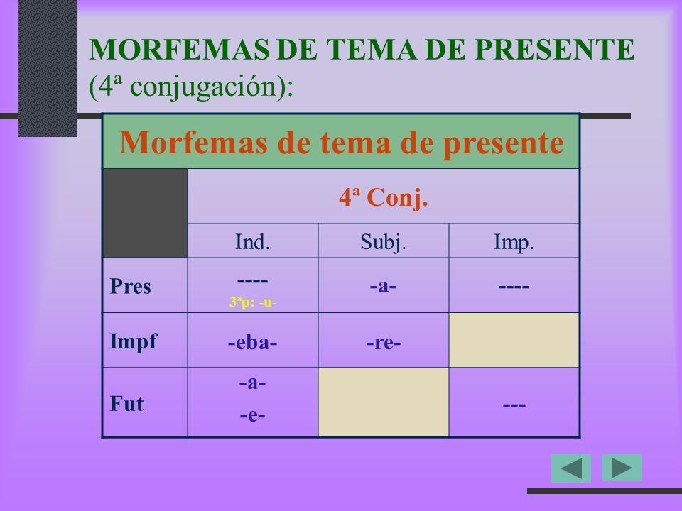 MORFEMAS DE TEMA DE PRESENTE (4ª conjugación):