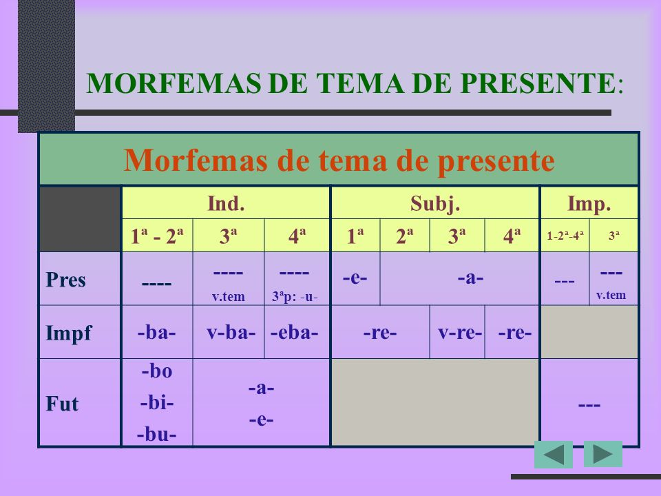 MORFEMAS DE TEMA DE PRESENTE: