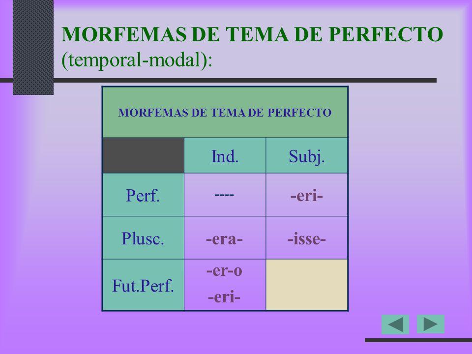 MORFEMAS DE TEMA DE PERFECTO (temporal-modal):