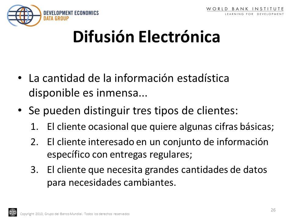 Difusión ElectrónicaLa cantidad de la información estadística disponible es inmensa... Se pueden distinguir tres tipos de clientes: