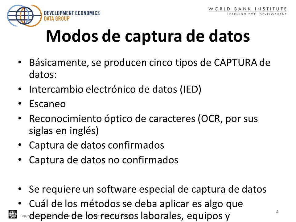 Modos de captura de datos