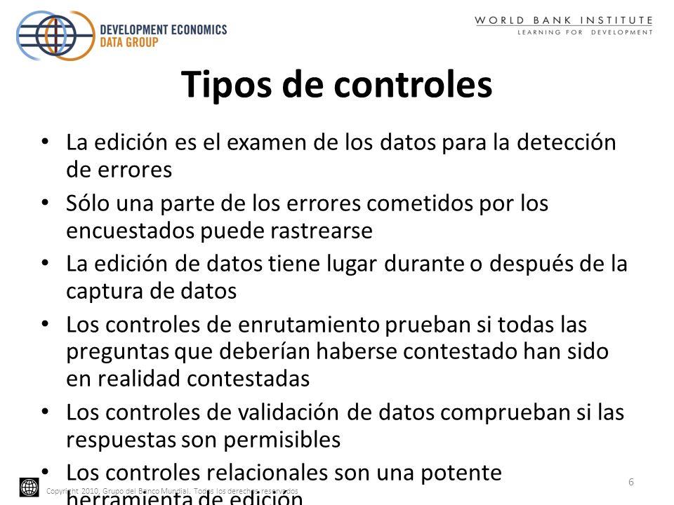 Tipos de controlesLa edición es el examen de los datos para la detección de errores.