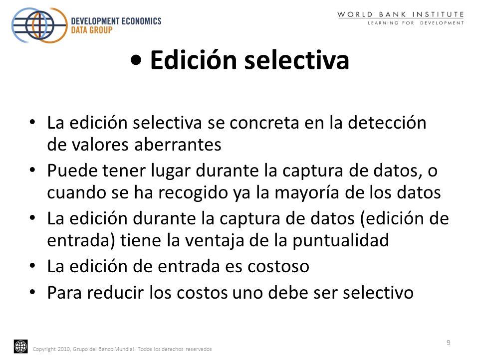 • Edición selectivaLa edición selectiva se concreta en la detección de valores aberrantes.