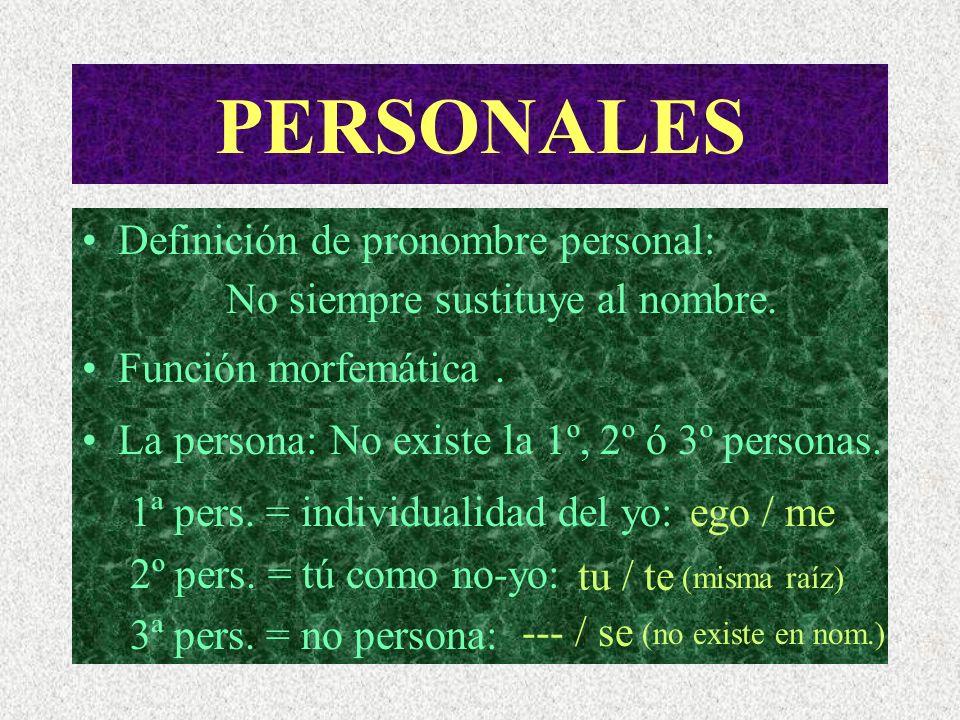 PERSONALES Definición de pronombre personal:
