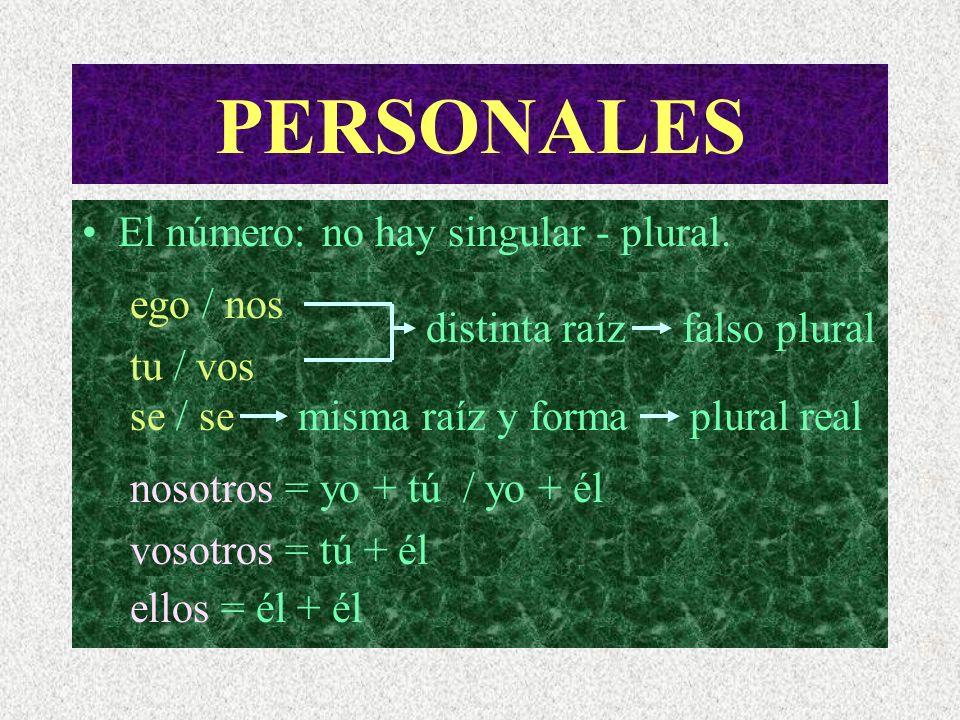 PERSONALES El número: no hay singular - plural. ego / nos tu / vos