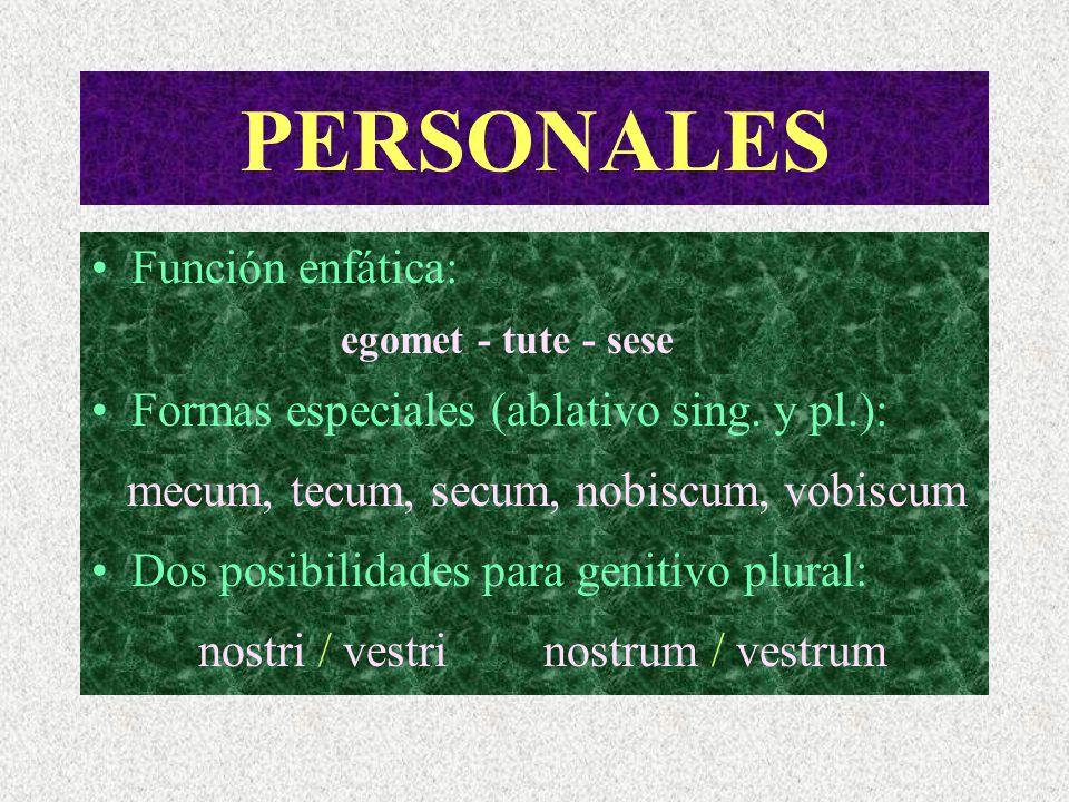 PERSONALES Función enfática: Formas especiales (ablativo sing. y pl.):