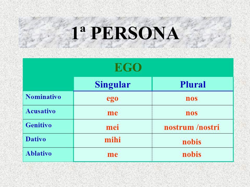 1ª PERSONA EGO Singular Plural ego nos me nos mei nostrum /nostri mihi