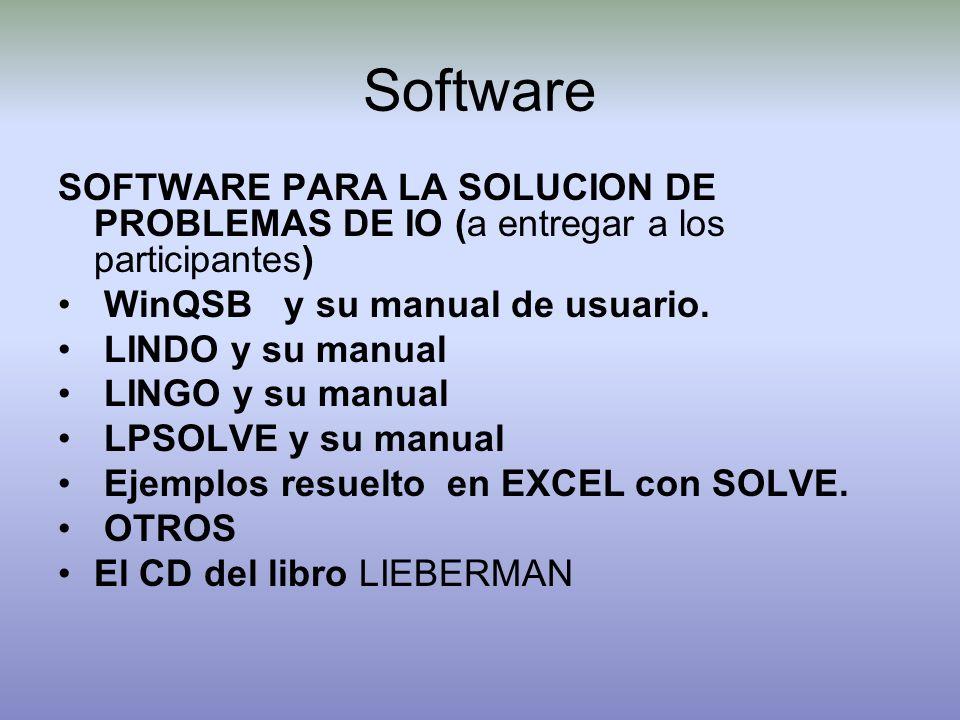 Software SOFTWARE PARA LA SOLUCION DE PROBLEMAS DE IO (a entregar a los participantes) WinQSB y su manual de usuario.