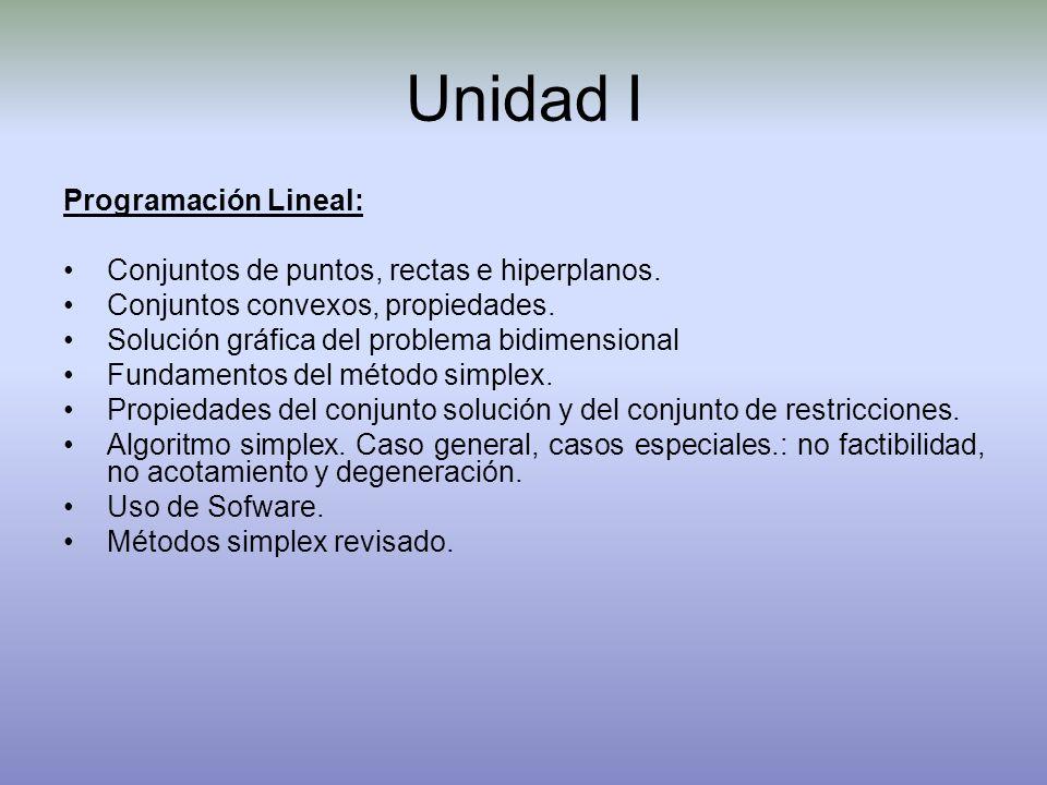 Unidad I Programación Lineal: