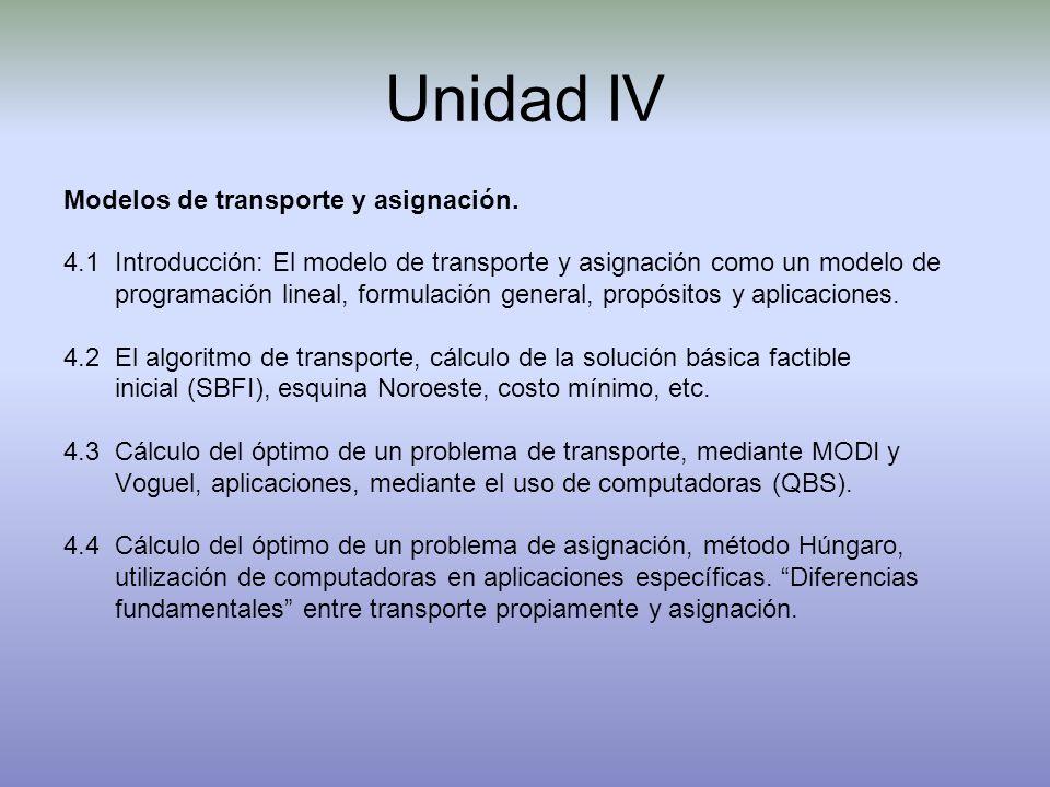 Unidad IV Modelos de transporte y asignación.
