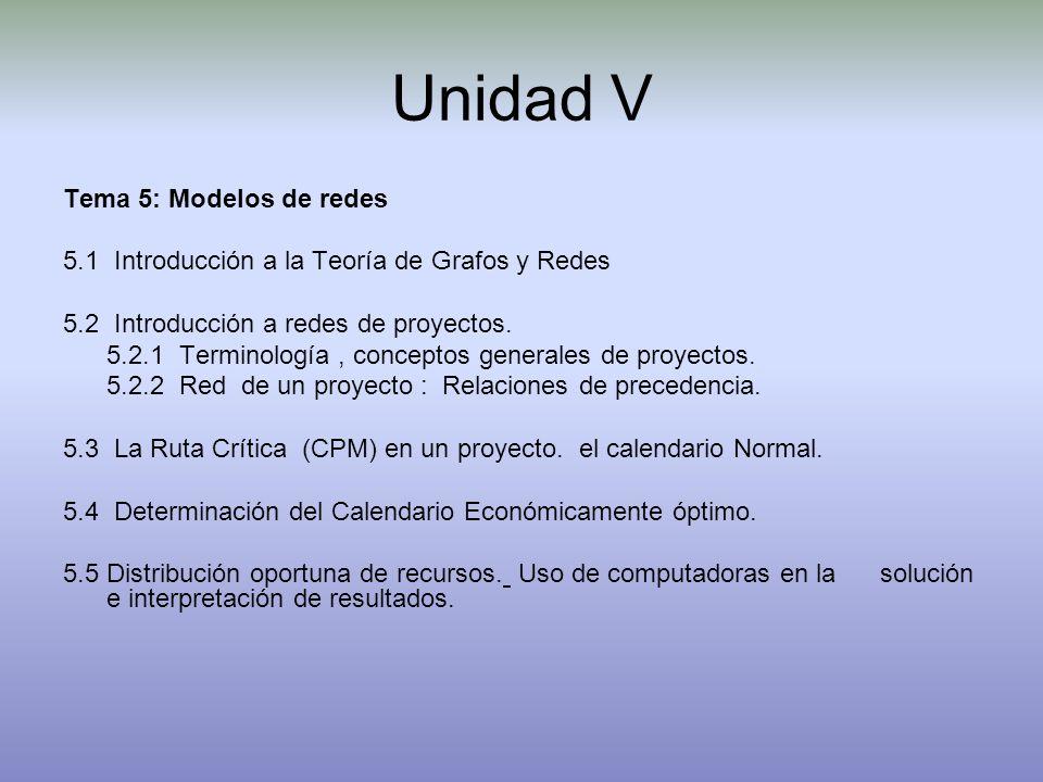 Unidad V Tema 5: Modelos de redes