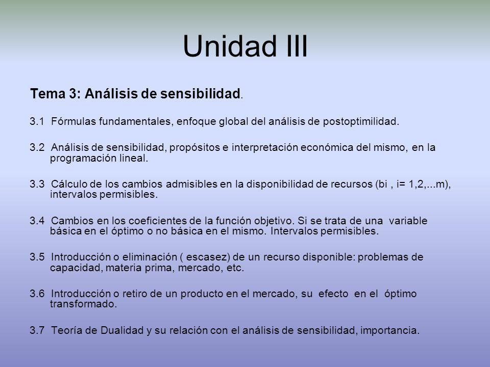 Unidad III Tema 3: Análisis de sensibilidad.