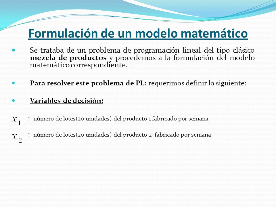 Formulación de un modelo matemático