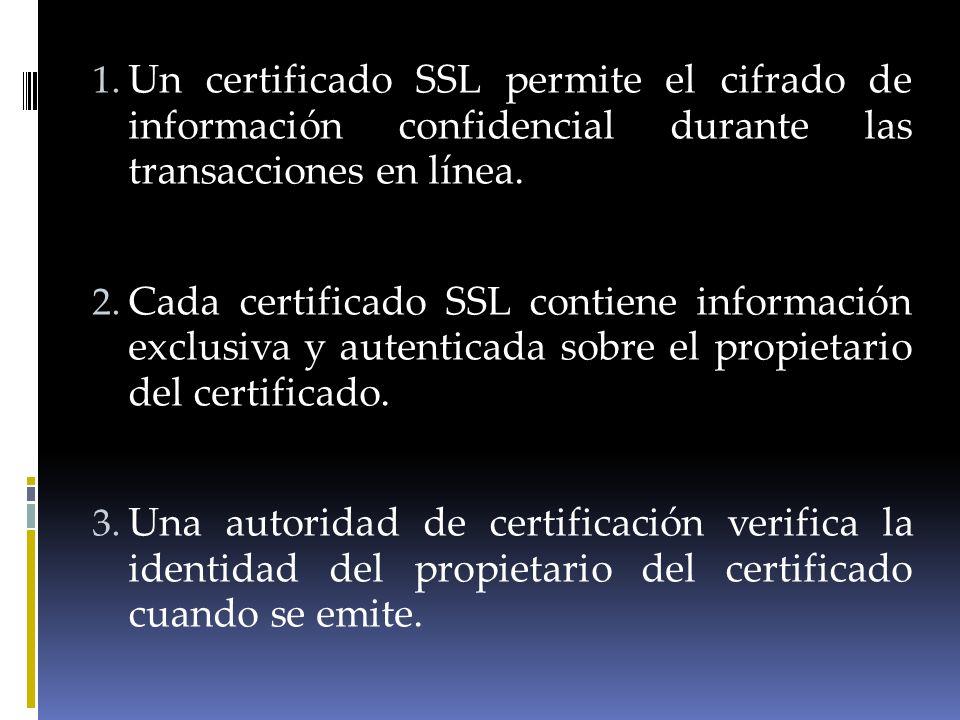 Un certificado SSL permite el cifrado de información confidencial durante las transacciones en línea.