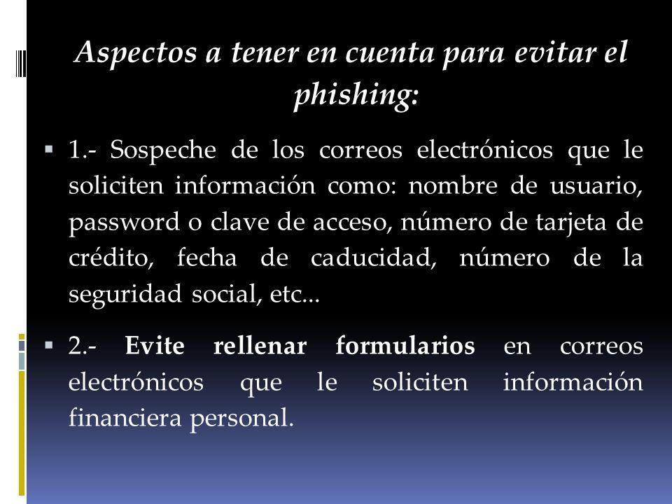 Aspectos a tener en cuenta para evitar el phishing: