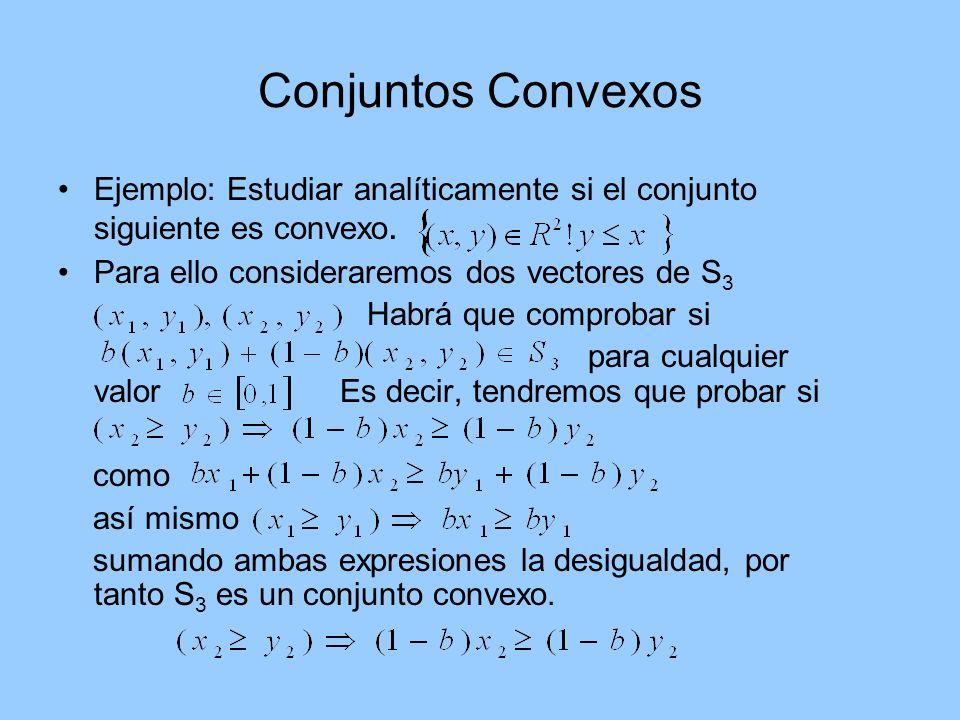 Conjuntos Convexos Ejemplo: Estudiar analíticamente si el conjunto siguiente es convexo. Para ello consideraremos dos vectores de S3.