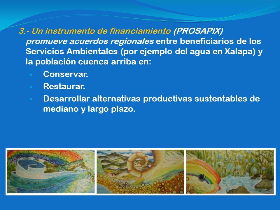 3.- Un instrumento de financiamiento (PROSAPIX) promueve acuerdos regionales entre beneficiarios de los Servicios Ambientales (por ejemplo del agua en Xalapa) y la población cuenca arriba en: