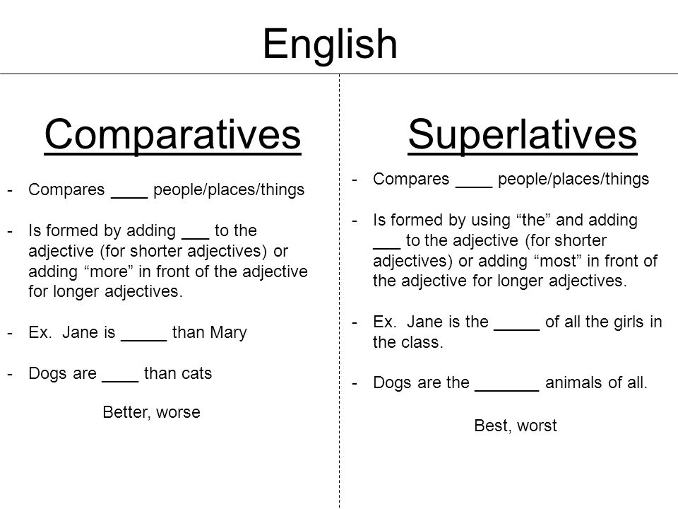 English Comparatives Superlatives Compares ____ people/places/things
