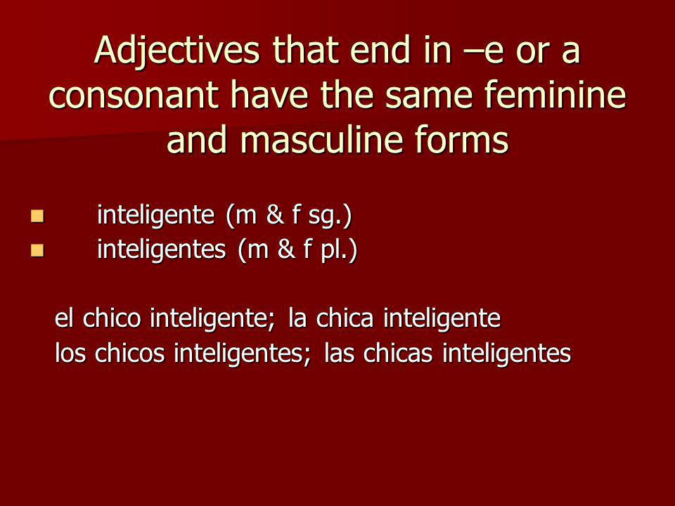 Adjectives that end in –e or a consonant have the same feminine and masculine forms