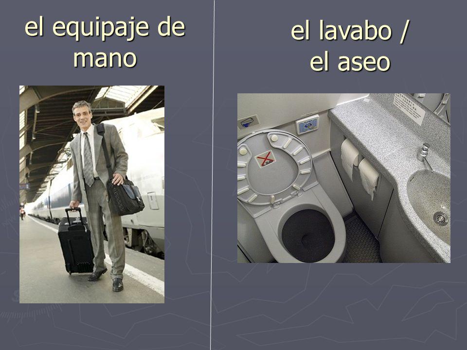 el equipaje de mano el lavabo / el aseo