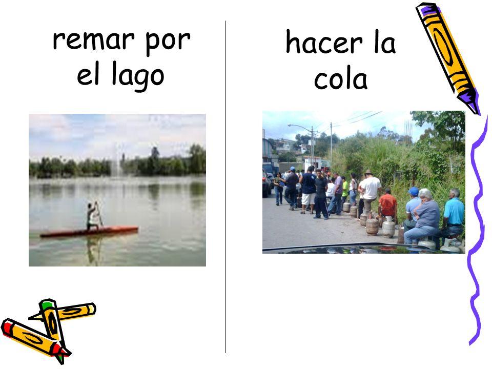 remar por el lago hacer la cola