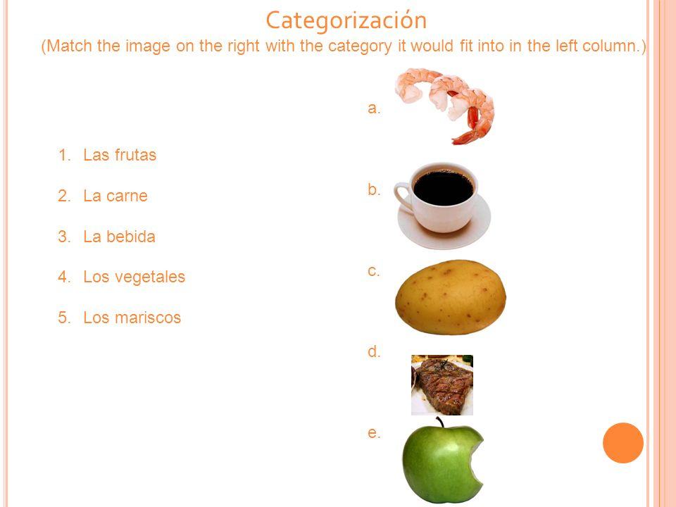 Categorización (Match the image on the right with the category it would fit into in the left column.)