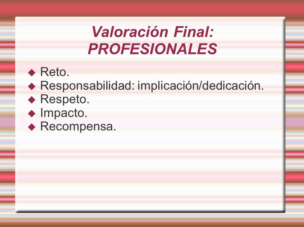 Valoración Final: PROFESIONALES