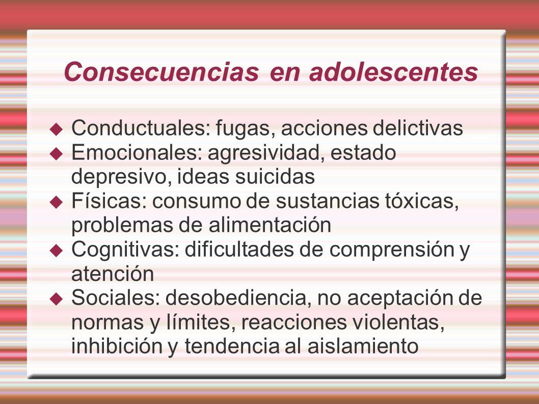 Consecuencias en adolescentes