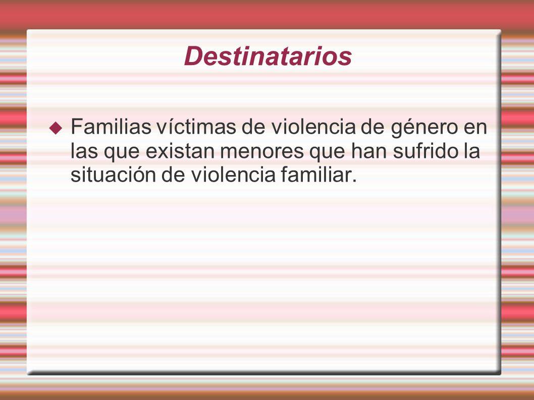 DestinatariosFamilias víctimas de violencia de género en las que existan menores que han sufrido la situación de violencia familiar.