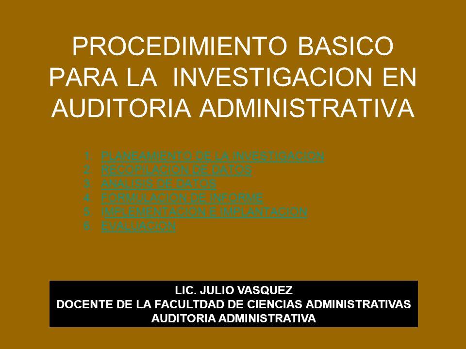 PROCEDIMIENTO BASICO PARA LA INVESTIGACION EN AUDITORIA ADMINISTRATIVA