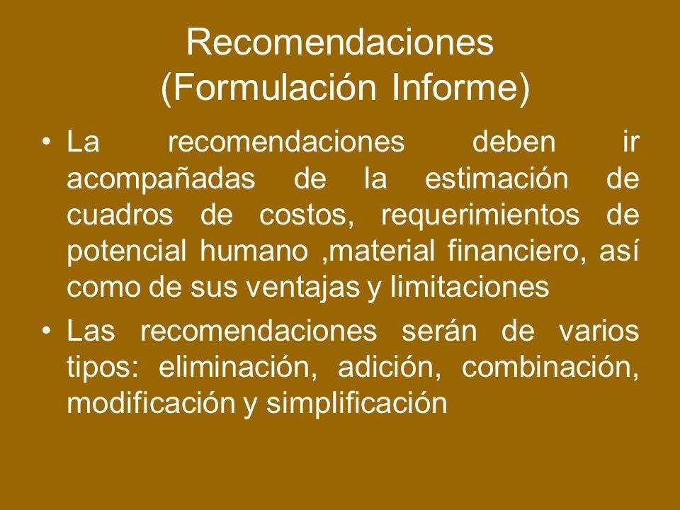 Recomendaciones (Formulación Informe)