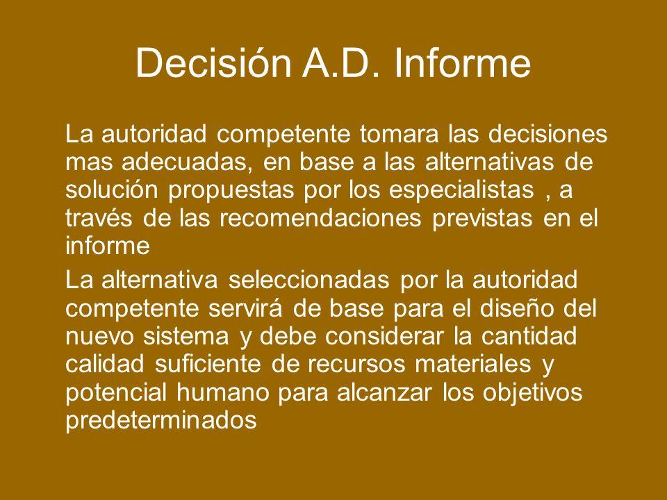 Decisión A.D. Informe