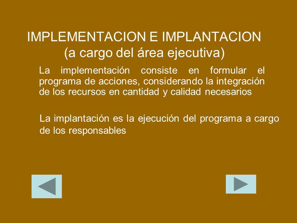 IMPLEMENTACION E IMPLANTACION (a cargo del área ejecutiva)