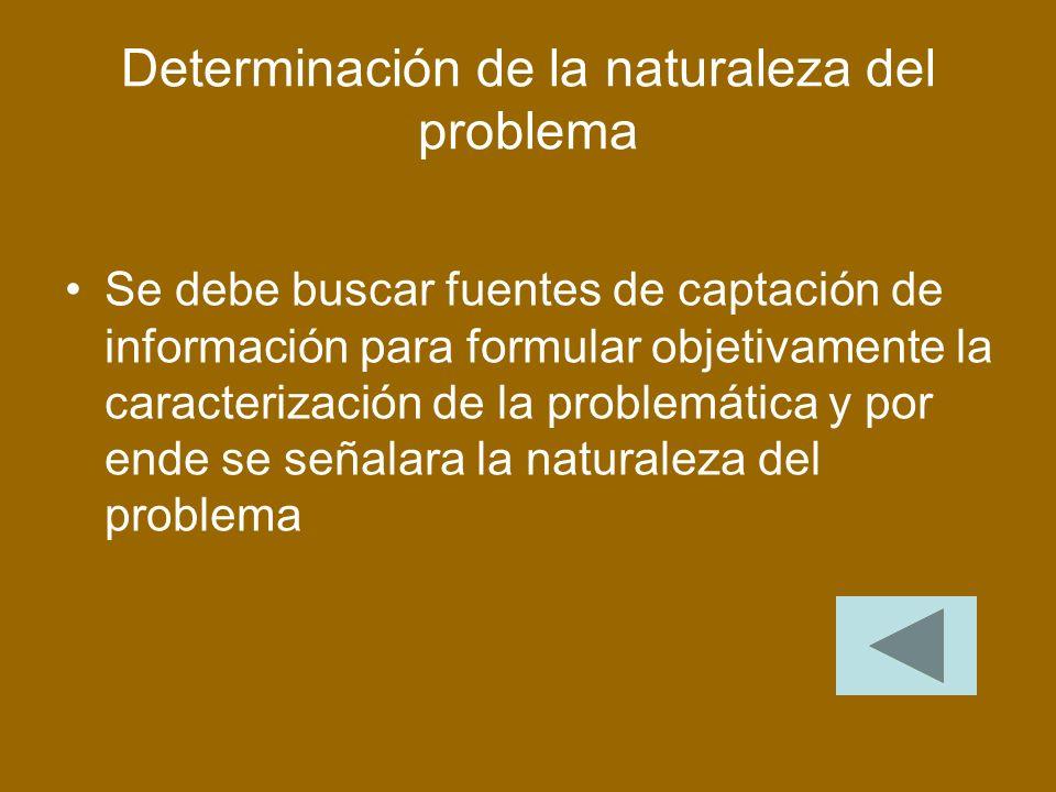 Determinación de la naturaleza del problema