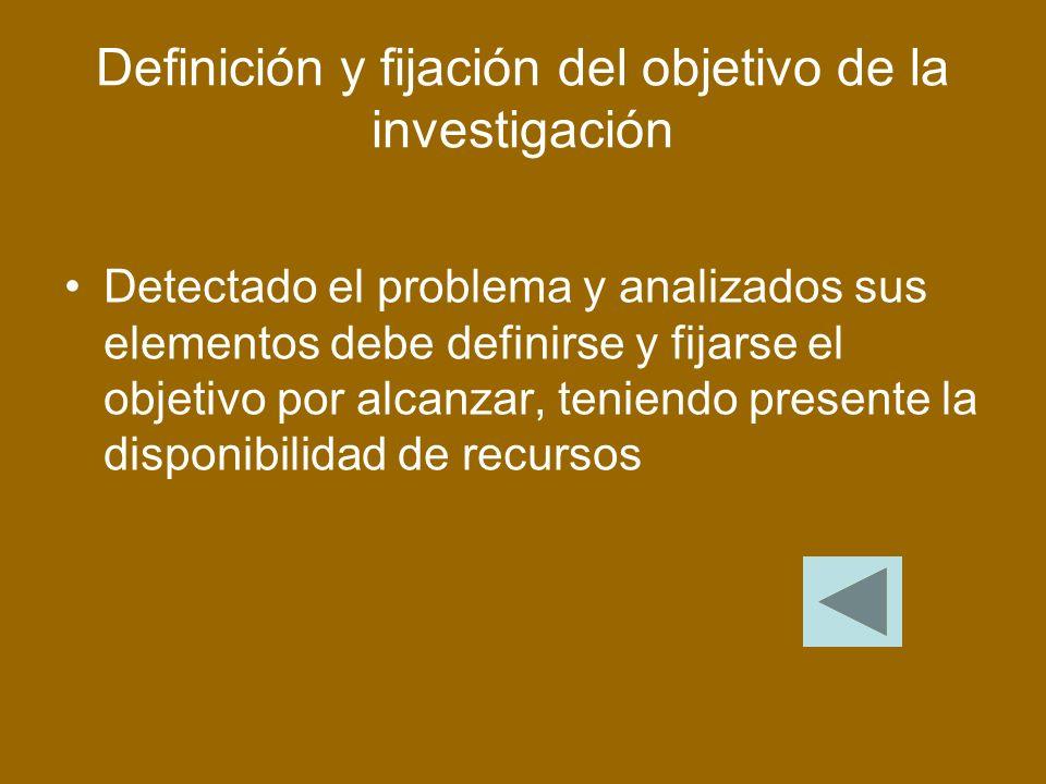 Definición y fijación del objetivo de la investigación