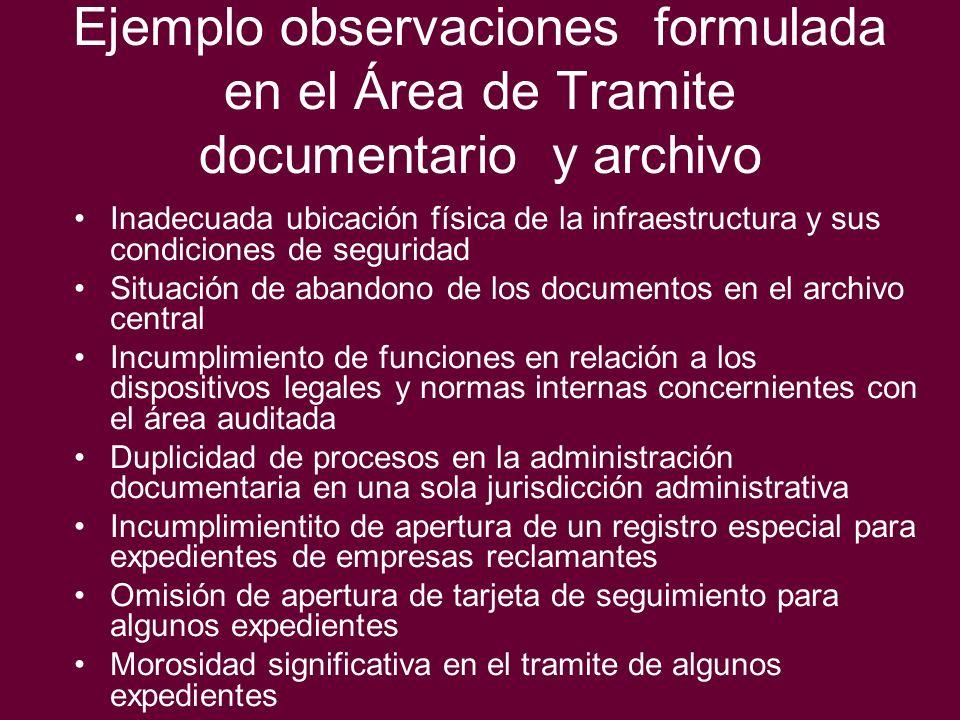 Ejemplo observaciones formulada en el Área de Tramite documentario y archivo