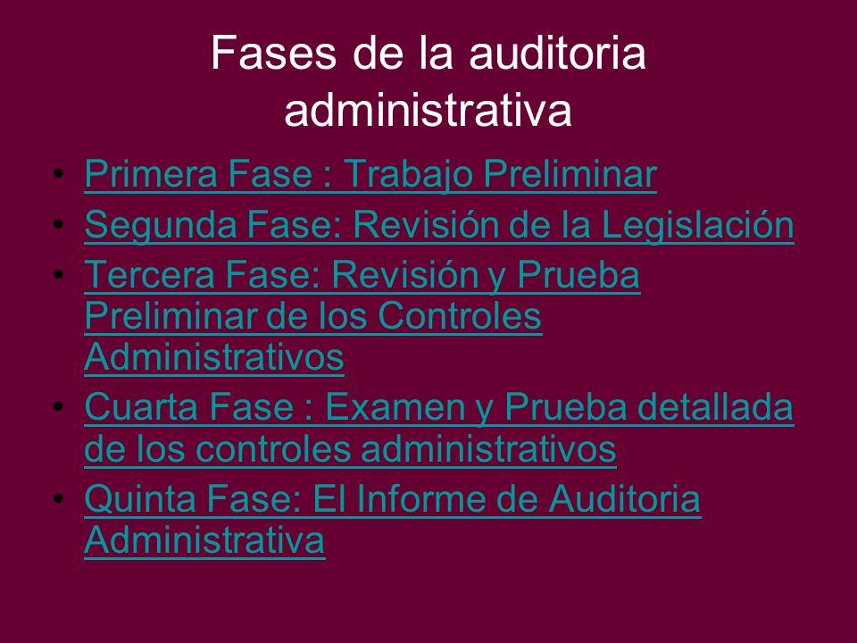 Fases de la auditoria administrativa